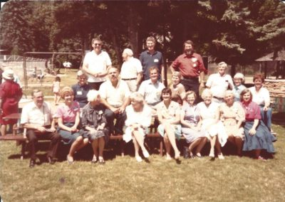 21- Front - Gene Ammon, Lou Ann Purvis, ?, Ann McGill, Janie Walters, Ruth Ammon, ?, Maybe Sarah Baker, and Mary Lou Meloy.  Middle Row - Ann McGeogh, Len Millison, Gib McGill, Jean Stultz, Willard and Pat Acheson, Ada Margaret Hutchinson, Back Row - Ron Walters, ? George Meloy and ?