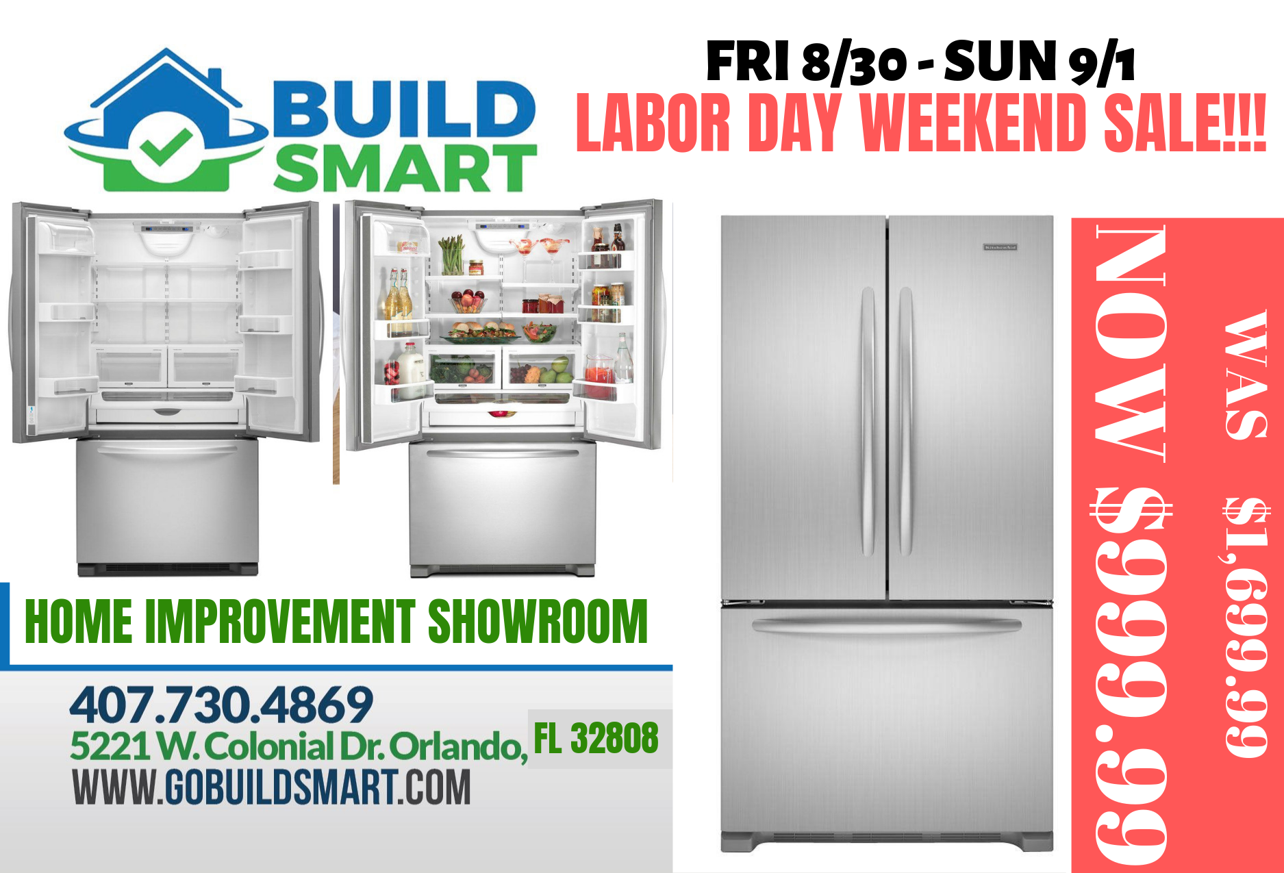 LABOR WEEKEND SALE – KITCHENAID REFRIGERATOR FOR $999