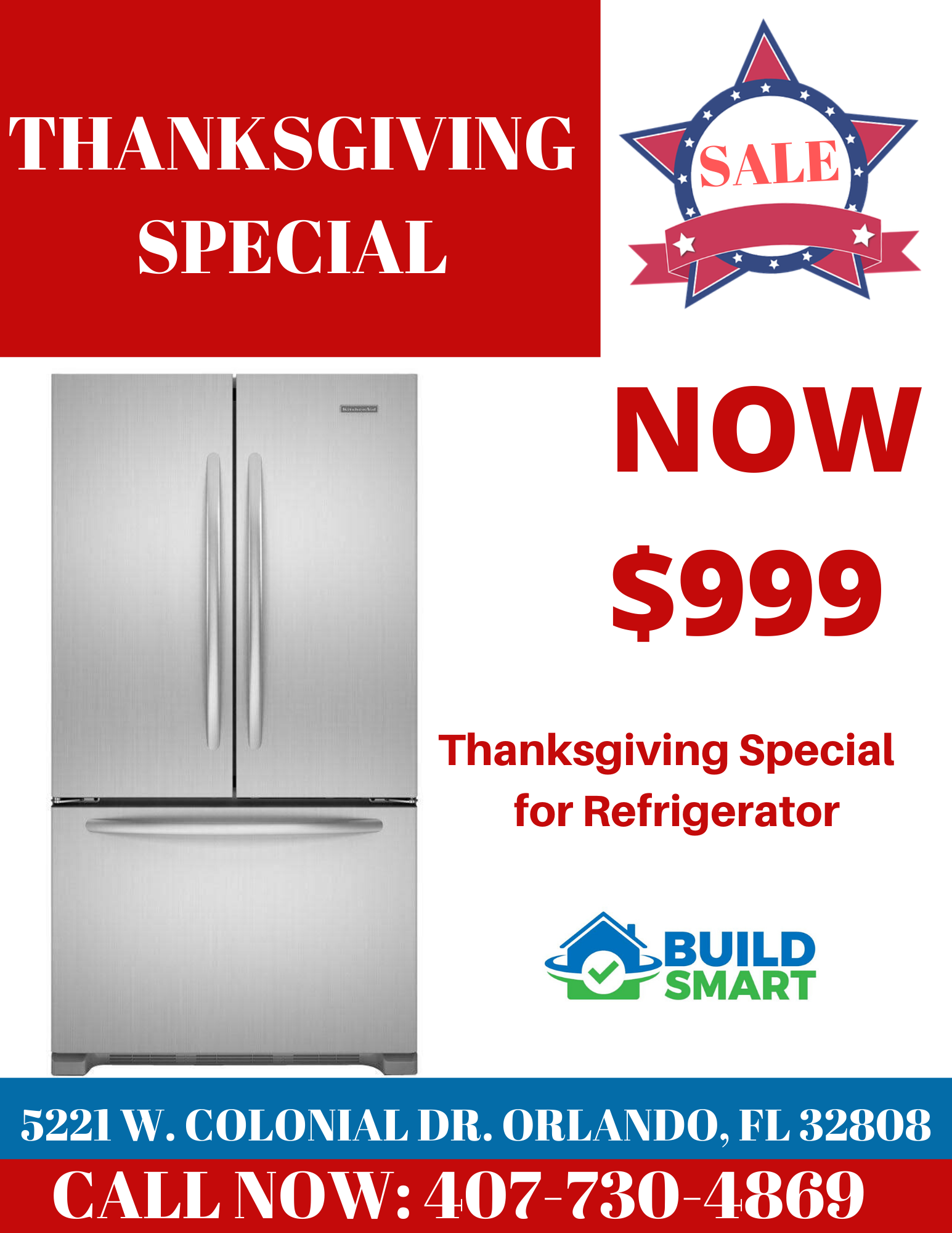 Thanksgiving Special : KitchenAid Stainless Steel Refrigerator on sale French Door – double door