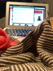Working on the Love Potion Number IX shawl for a Compatto Yarn store sample.