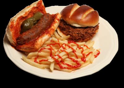 Italian sausage, fries and Italian beef