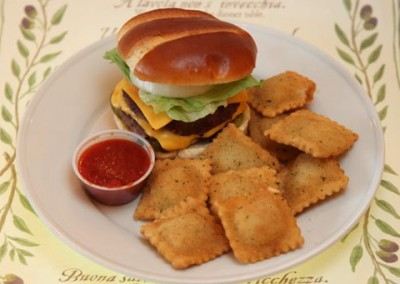 Cheeseburger w/side of Ravioli