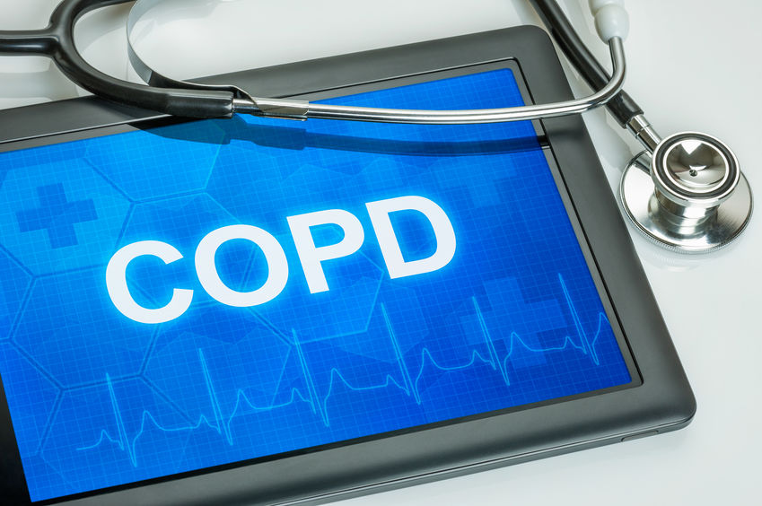 Tablet with the diagnosis COPD on the display