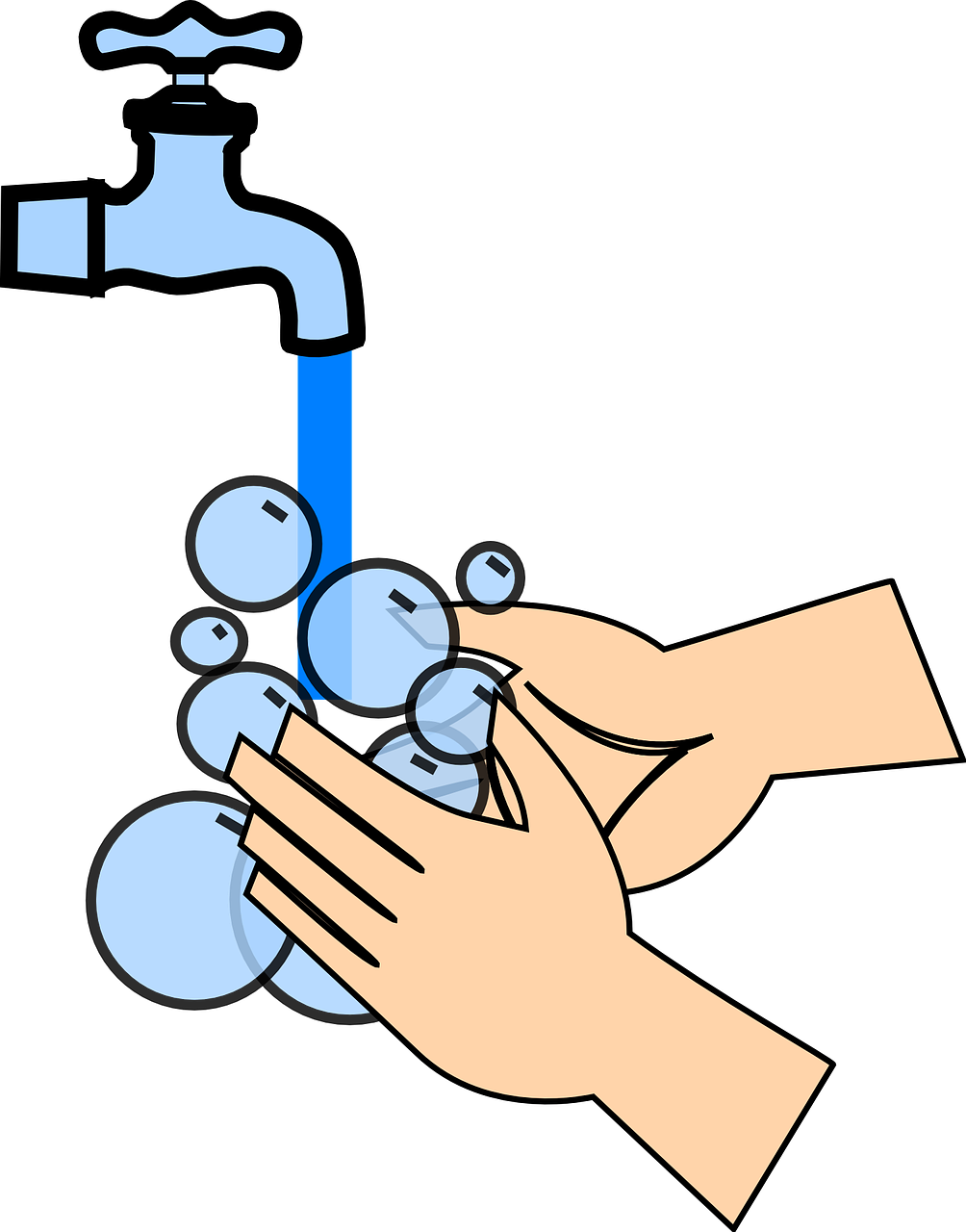 Hand washing under water with soap bubbles