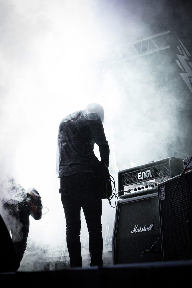 rockstar guitar player on stage