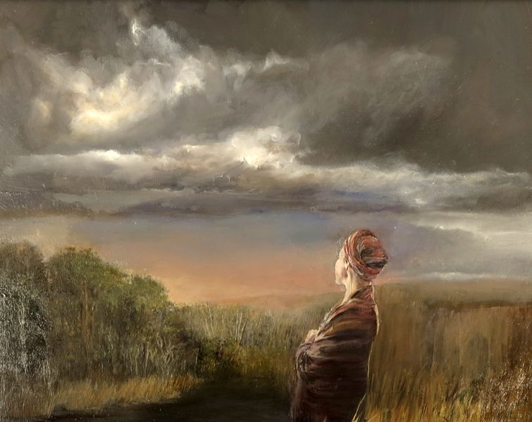 """Judith Peck, """"The Downpour,"""" 24x30 inches, Oil on birch"""