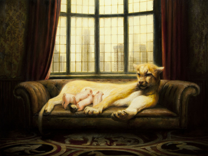 """The Heirs, 42"""" x 56"""", Oil on canvas, 2012 Collection of Robert Shiell"""