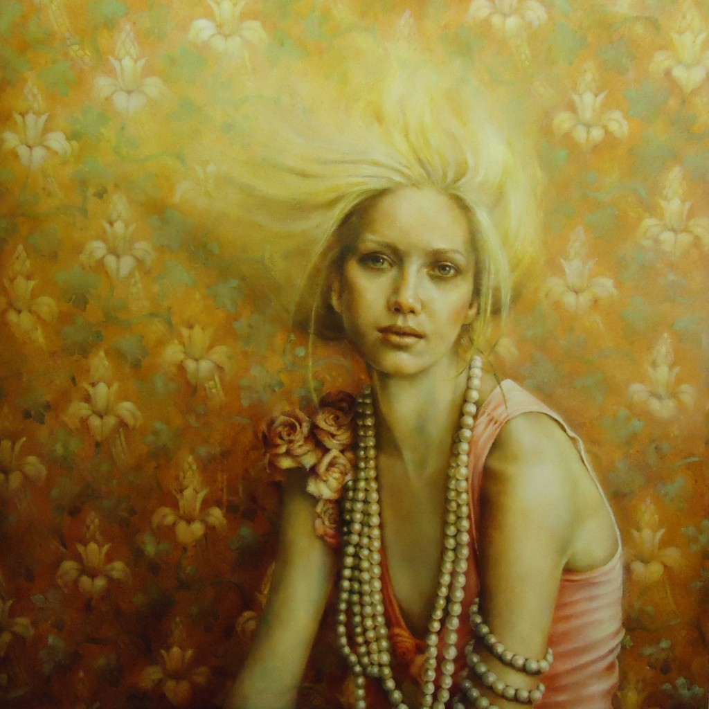 "Pam Hawkes,""Fading,"" oil on copperfeaf gilding on board, 122cm x 122cm."