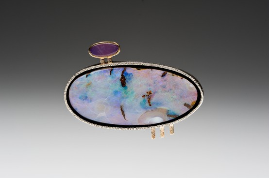 Brooch by Betsy Bensen, Made of 43mm x 20mm Opal, Holly Blue Agate, Sterling Silver, 18kt Gold, fabricated