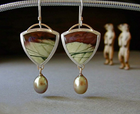 Imperial jasper, freshwater pearls by Betsy Bensen