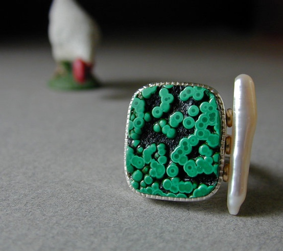 Malachite and Stick Pearl Ring in Sterling Silver by betsy bensen