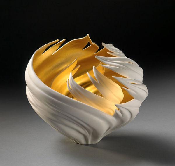 Gilded Wind Nest, 8x8x8, Jennifer McCurdy. Photo by Casey McCurdy