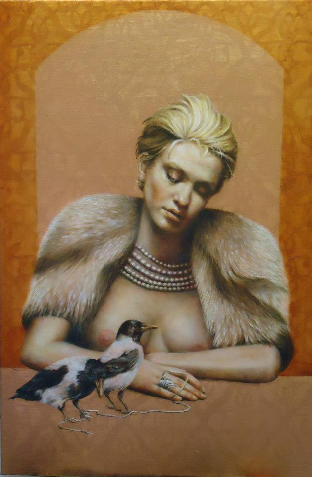 Neverending Daydream | oil on copperleaf | 92cm x 61cm | Pam Hawkes