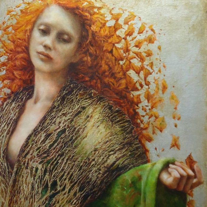 Oil, beeswax and metal leaf on board | Pam Hawkes