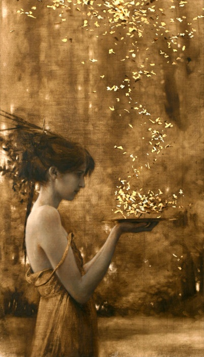 """Brad Kunkle, """"Two Suns,"""" Oil and Gold leaf on canvas"""
