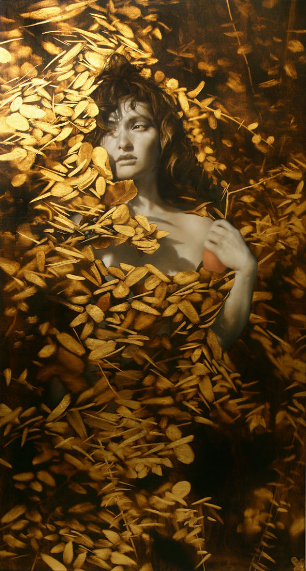 Revelen, 61 x 33 inches, Oil and gold leaf on linen, Private collection