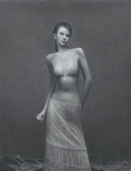The Nightingale | charcoal on paper | 50 x 38 inches | 2010 | Aron Wiesenfeld