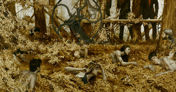 The Gilded Wilderness Oil, gold, and silver leaf on linen. 42 x 80 inches