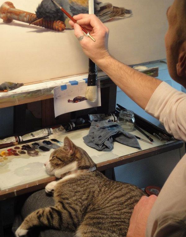 Ajay Brainard at work in his studio.