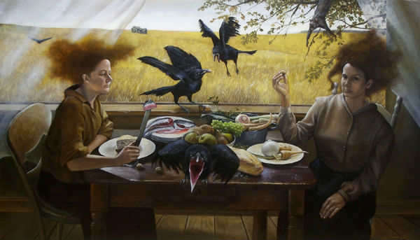 Unexpected Company | 36x60 | Andrea Kowch