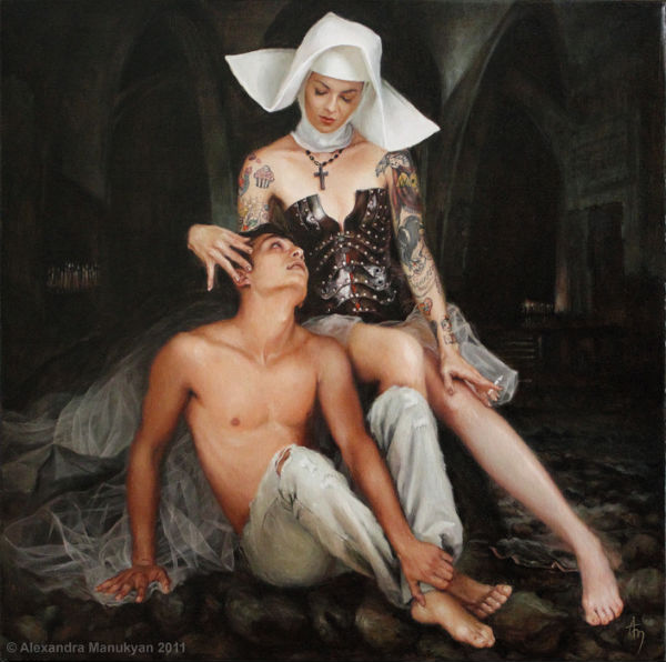 "Secret and Confession | oil on canvas |  24""x24"" 