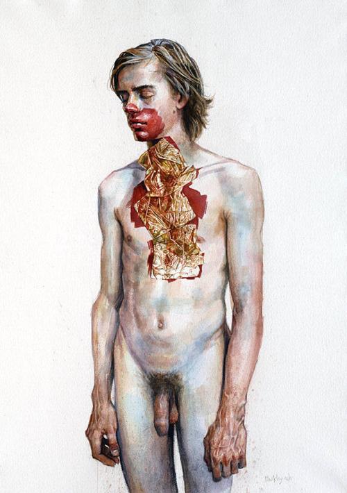 "Daniel Barkley ""Golden Boy"" Acrylic on Wood, 22"" x 30"" 2011"