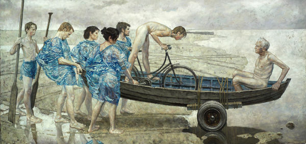 "The Far Shore | acrylic on canvas/acrylique sur toile | 137 x 274 cm, 54"" x 108"" | Daniel Barkley | 2006"
