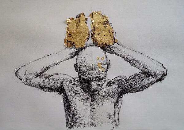 Gold Hands | ink and gold-leaf on paper | 2013 | Daniel Barkley | 2013