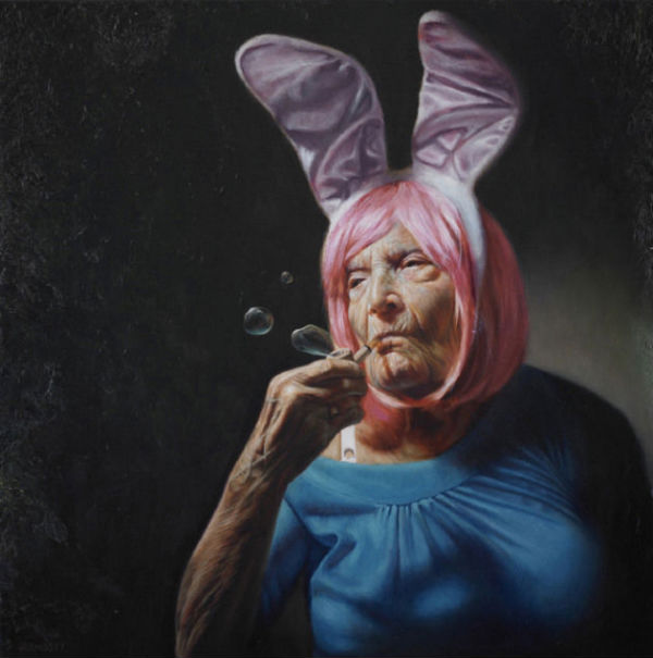 "Haughty Elaine | Jason Bard Yarmosky | oil on linen | 24″x24″ | private collection | New York | See the Combustus interview: ""Jason Bard Yarmosky's Hyper Realistic Oil Paintings Challenge Notions of Aging Gracefully"""