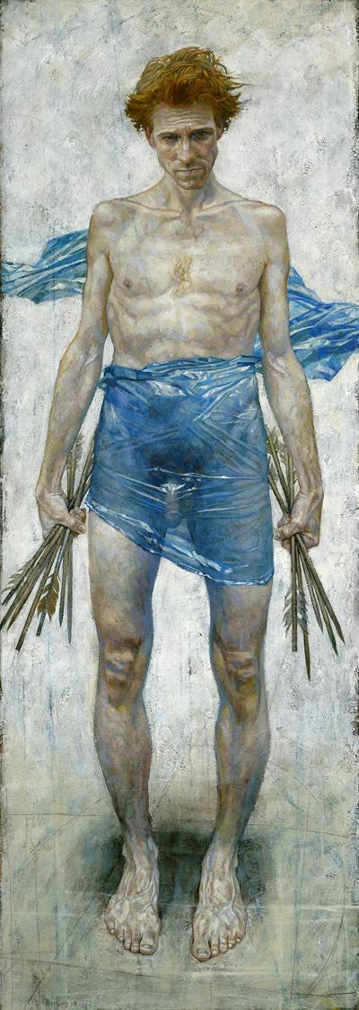 "St. Sebastian | acrylic on canvas/acrylique sur toile | 183 x 66cm, 72 x 26"" | Daniel Barkley"