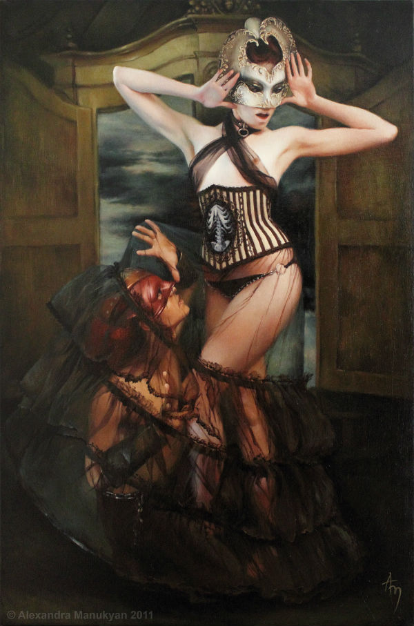 "Trapped, from the series 'Masquerade' | oil on canvas | 24x36"" 2011