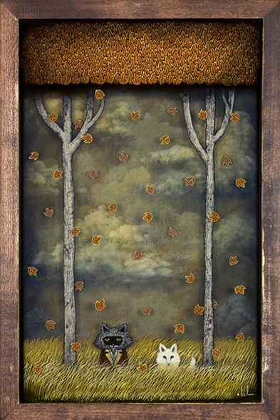 "image 7 Cloaked in a Vast and Quiet Wonder 2012 Oil, Acrylic and Resin on Wood 12"" x 18"" ""Into the Depths"" Solo Show Thinkspace Gallery Culver City, CA  (Sold) f"
