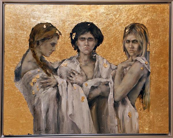 oil and gold leaf on canvas | 75x95 | Marwa Alnajjar