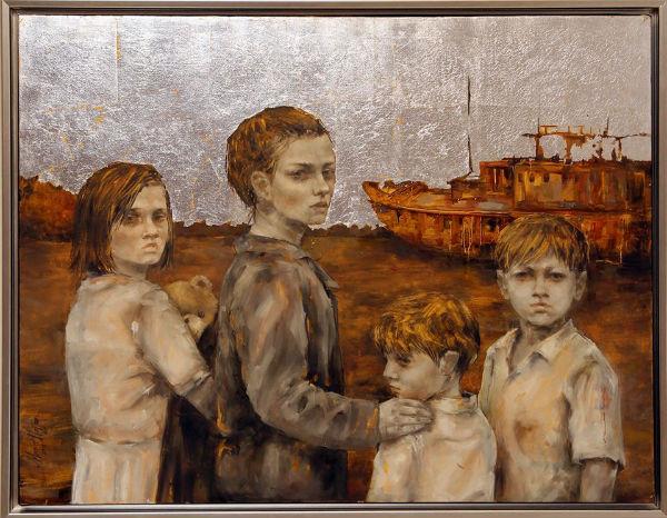 Looking Back | oil and silver leaf on canvas | 75x95 | Marwa Alnajjar