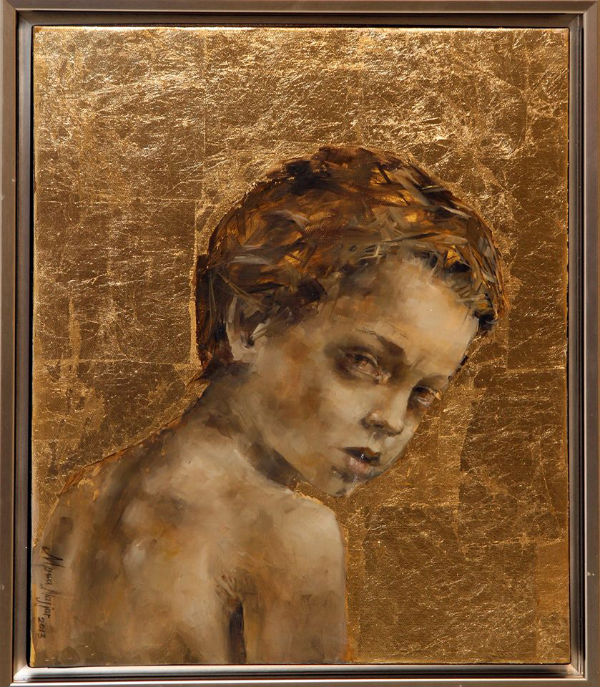 Still Here | oil and gold leaf on canvas | 55x45
