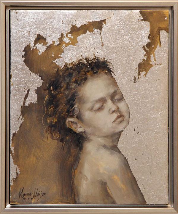Sleep | 55x45 | oil and silver leaf on canvas | Marwa Alnajjar