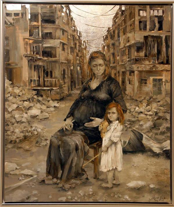 Survive | oil and silver leaf on canvas | 95x115 | Marwa Alnajjar