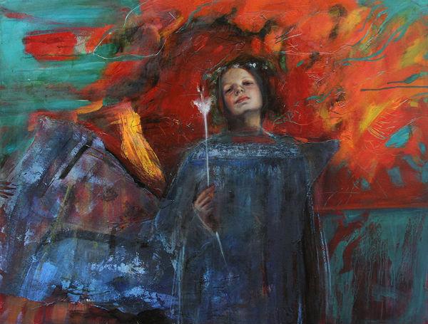 """La flor blanca   mixed media on canvas   51"""" x 51""""   Sol Halabi"""