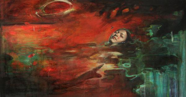 """Rojo   Mixed media on canvas   59"""" x 31""""(150 cm x 80   2009   Sol Halabid media on canvas - Técnica mixta sobre lienzo"""