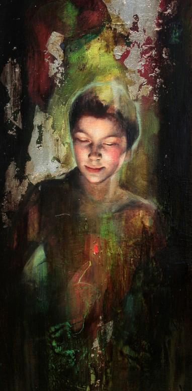 "La Llama que Enciende   Mixed media on canvas   16"" x 35"" (40 cm x 90 cm)   2009   Sol Halabi"