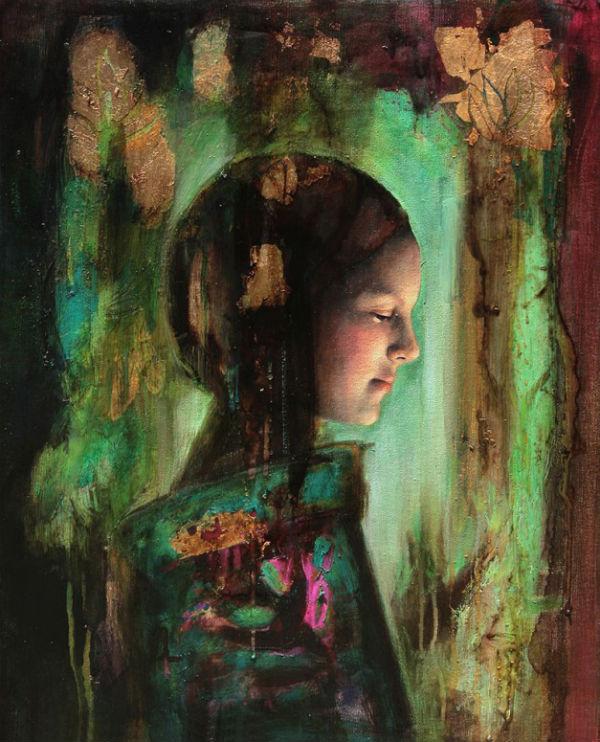 "Niña en verde   Mixed media on canvas   16"" x 20"" (40 cm x 50 cm)   2009 } Sol Halabi"