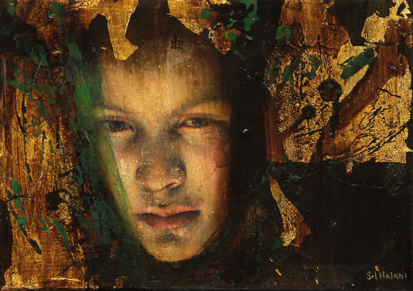 """Mirar el fuego es encontrar   mixed media on canvas   9"""" x 6""""   2011   Sol Halabi"""