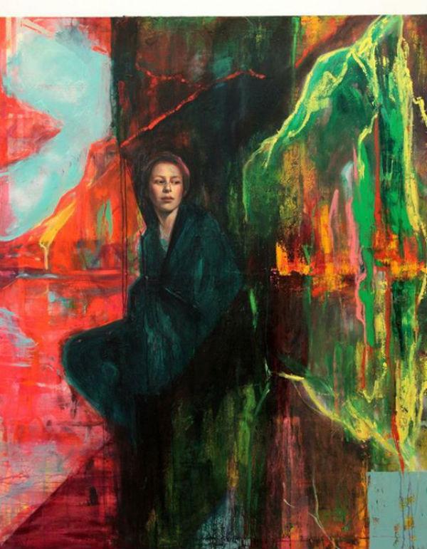 """Dama de las rocas   mixed media on canvas   59"""" x 67""""   2012   Sol Halabi"""