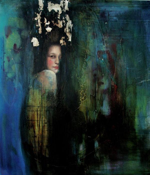 """<em>Noche</em>   mixed media on canvas   28"""" x 31""""   Sol Halabi"""