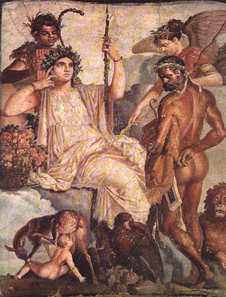 "ancient fresco ""Herakles and the Infant Telephos"" Roman fresco copy of Greek painting, 2nd century AD, Herculaneum, Italy"