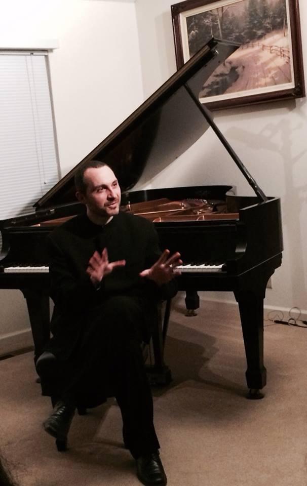 Antonio Pompa-Baldi at an In-Home Piano Recital last weekend.ekend