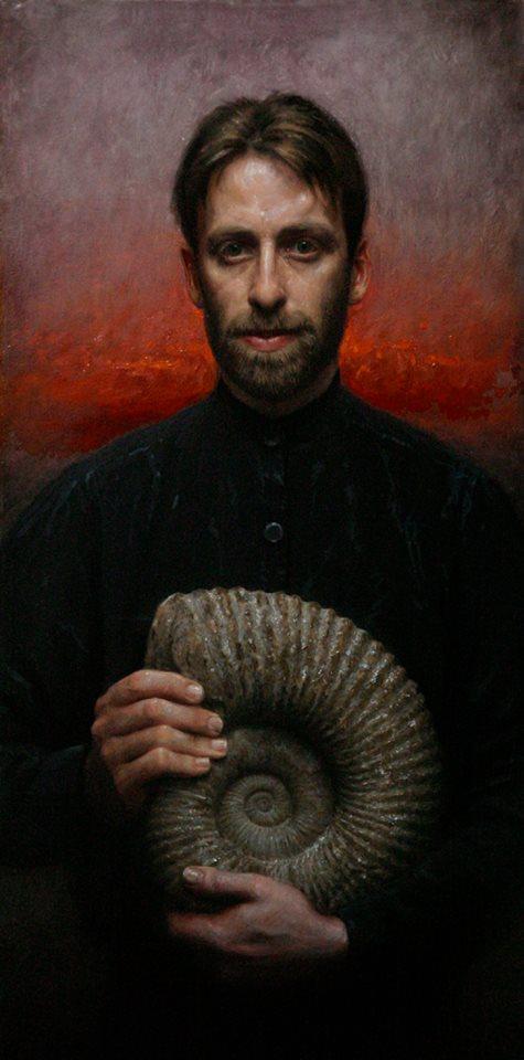 Fossil Portrait, Oil on linen, 36x18, 2006