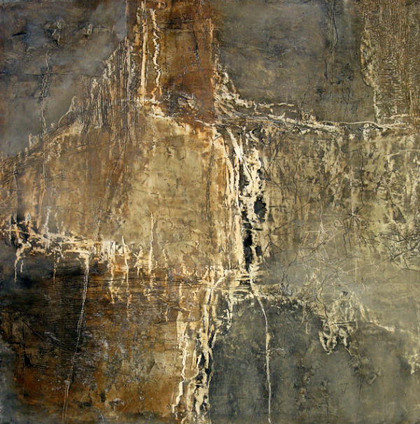 """After She Stopped Counting The Steps oil and mixed media on panel 24"""" H x 24"""" W  SOLD"""
