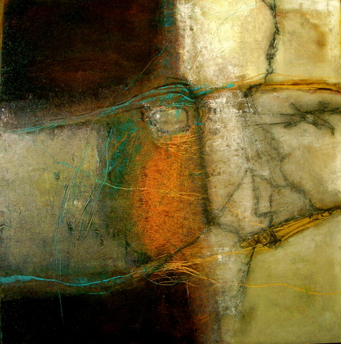 """Site #4 mixed media on board with black gallery frame 24"""" H x 24"""" W"""