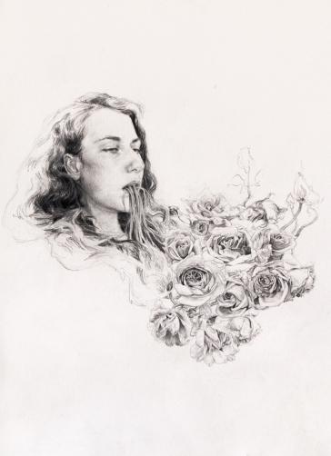 Les Mangeurs de Lotus - I pencil on paper, 50x37cm, 2012 Helene